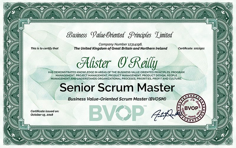 BVOP Senior Scrum Master Certification